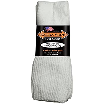 EXTRA-WIDE Tube Socks White Fit Shoes 9-15 Up to 6E 3-Pair Pack Diabetic For Shoe MADE IN USA