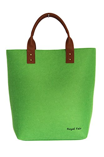 Felt Bag, Brand Embroidery Genuine Leather Handle Large Tote Bags Felt Handbag for Woman Royal Fair Green