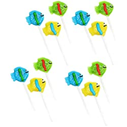 """2"""" Tropical Fish Lollipops - Pack of 12 Assorted Fruit-Flavored Candy Suckers for Party Favors, Cake Decorations, Novelty Supplies or Treats for Halloween, Christmas, Baby Showers by Kidsco"""