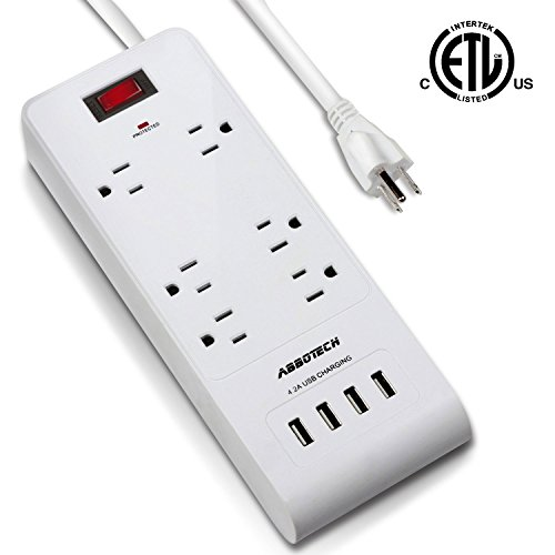 AbboTech Power Strip Surge Protector Charging Station With 6AC Outlets And 4USB Charging Ports(5V/4.2A) ,3ft Heavy Duty Extension Cord,White,ETL Listed Multifunction Wall Station