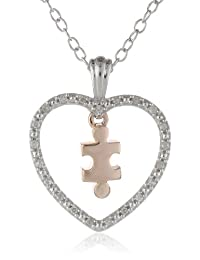 Silver Heart and 10k Rose Gold Puzzle Piece Diamond Accent Pendant Necklace, 18""