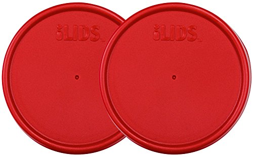 ILIDS Wide Mouth Mason Jar Storage Lid, Red, 2-Pack