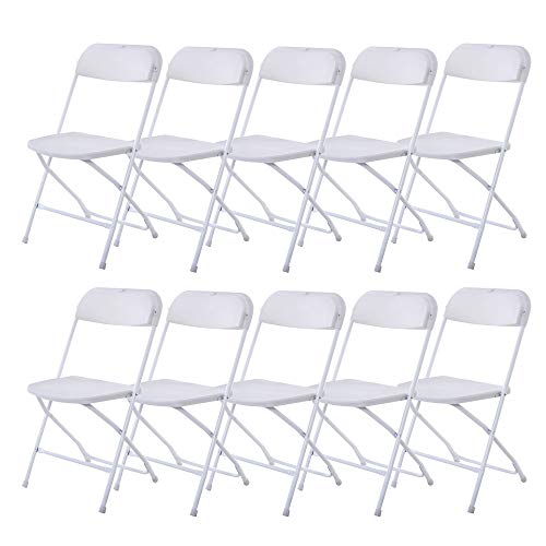 VINGLI 10 Pack White Plastic Folding Chair, Indoor Outdoor Portable Stackable Commercial Seat with Steel Frame 350lb. Capacity for Events Office Wedding Party Picnic Kitchen Dining (Commercial Tables Picnic Used)