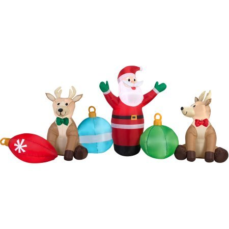 Gemmy Airblown Inflatables Christmas Inflatable Santa / Reindeer / Ornaments Clusters Scene, 9' ()
