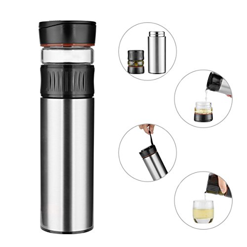 Tea Infuser Insulated Tumbler 12 Ounce Double Wall Stainless Steel Travel Mug and Leak Proof Portable Teapot