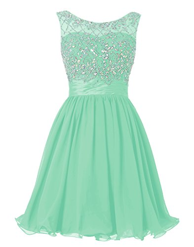 2008 Prom Dress Gown - Wedtrend Women's Short Beading Homecoming Dress Rhinestones V-Back Prom Gown WT10124Mint10