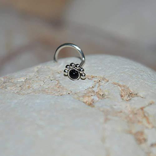 17afc8e66 Amazon.com: 2mm Onyx NOSE STUD // Silver Cartilage Stud - Cartilage Earring  - Helix Piercing - Rook Earring - Nose Hoop - Tragus Stud - Stud Nose Ring  20g: ...