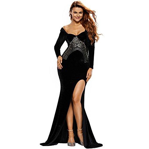 MEI&S Vintage mujer elegante vestido de Prom Larga Noche Maxi vestido de fiesta negro