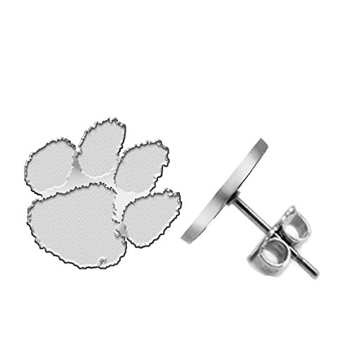 Clemson Tigers Earring - Large Stud - See Image on Model for Size Reference (Paw Clemson University Earrings)