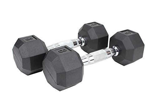 Premier Fitness XPRT Fitness Quality Rubber Coated Dumbbell with Contoured Chrome Handle