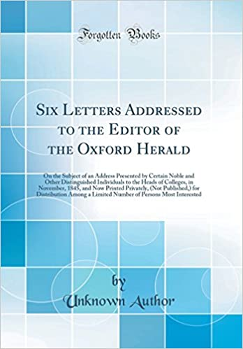 Buy Six Letters Addressed to the Editor of the Oxford Herald