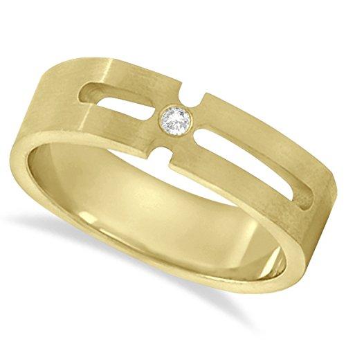 Round Cut Men's Solitaire Diamond Wedding Band Burnished 18k Yellow Gold (0.05ct) (Band Diamond Burnished)