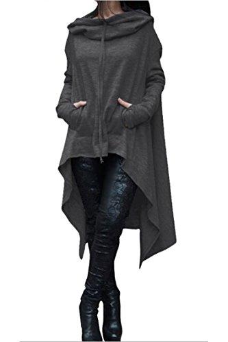 Herose Womens Pure Color Club Party Hoodie Sweatshirt Sweater 16W/3TagXL Deep Grey