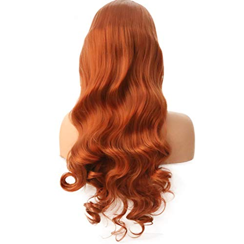 Solarphoenix Body Wave Synthetic Lace Front Wigs Heat Resistant Orange Color Wigs 24 Inch Glueless 150% Density Wigs For Black Women-in Synthetic None,Orange,22inches