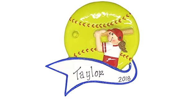 339db61c1a2 Softball Hit Girl Personalized Ornament - (Unique Christmas Tree Ornament -  Classic Decor for A Holiday Party - Custom Decorations for Family Kids Baby  ...