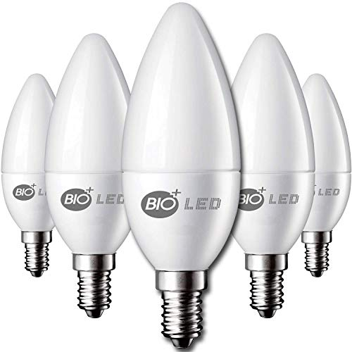 Bioled Lampadina LED E14, 5W, 420 lm, sostituisce lampadine a incandescenza da 60 W, C35, lampadine LED E14, lampadine a candela E14, lampadina a LED E14 (bianco freddo, confezione da 10 in 1)