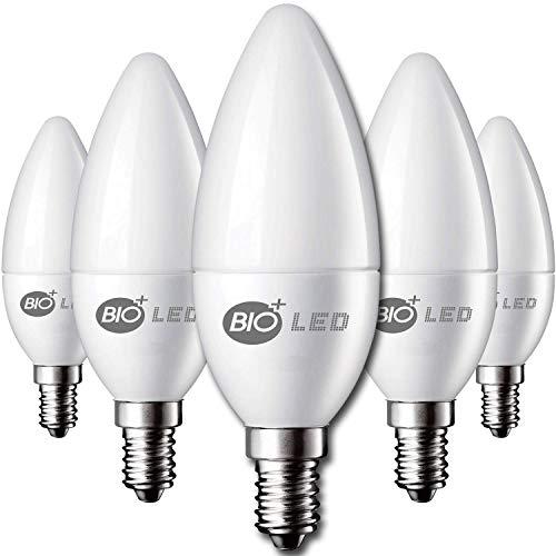 Bioled E14 LED Glühbirnen, 10er Pack, Kaltweiß 6400K, 5W (Ersetzt 60W Halogenlampe), LED Kerzenlampen, E14 LED Leuchtmittel mit Kerzenform, LED Kerzenbirnen, LED Glühlampe