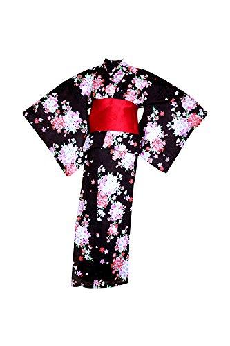 聞く想像する食べるmyKimono Women 's Traditional Japanese着物ローブ浴衣488 with Obi Belt /ブラックと花パターン