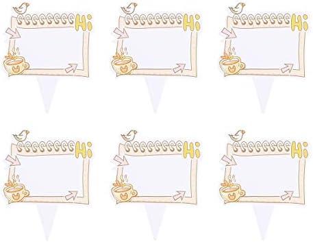 100個ケーキトッパー空白の書き込み可能なケーキピックフルーツピックデザートテーブル装飾用品(コーヒー、こんにちは)