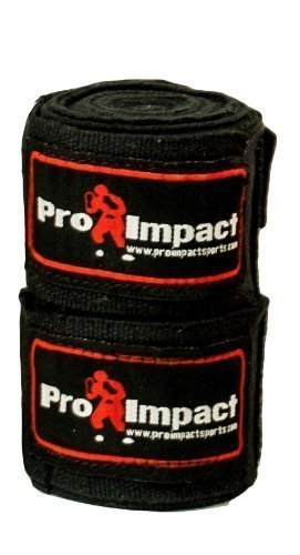 Pro Impact Boxing/Mma Handwraps 180' Mexican Style Elastic 1 Pair Black