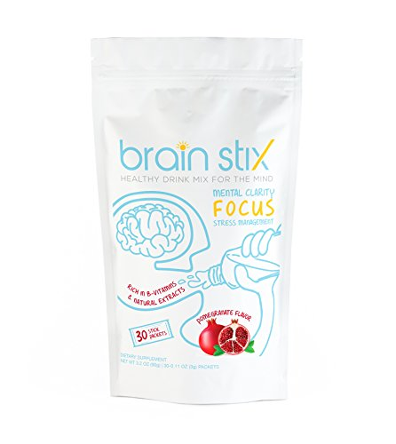 Brain stix - All Natural Drink Mix and Mind Booster - Power Packed with Vitamin B12, Green Tea Extract, and Amino Acids to Promote Focus and Mental Clarity (30 ct.)