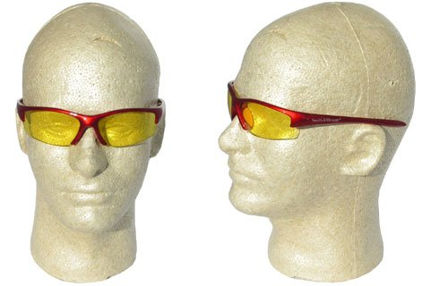 Smith & Wesson 3016310 Equalizer Safety Glasses - Red Frame - Amber Lens, 1 Pair