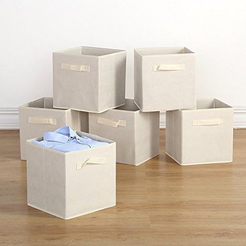 """Housen Solutions Storage Bins - Collapsible Storage Cube Organizer, Nonwoven Basket Container Fabric Drawers Set of 6, Beige 10.5"""", Dual Handles"""