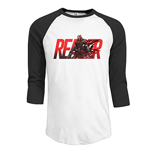 Price comparison product image Texhood Men's Overwatch Cool Reaper Customized 100% Cotton 3 / 4 Sleeve Raglan Henley Shirt Black XXL