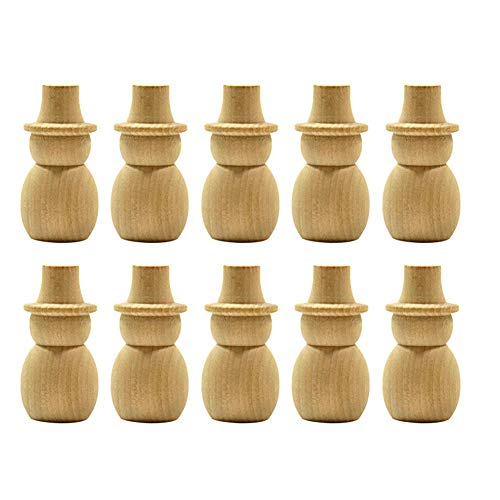 Matefield Wooden Peg Dolls, Natural Unfinished Wooden Peg Dolls Wooden Figures, for Painting DIY Arts Crafts Paint Carved Cake Toppers Party Decoration (Snowman x 10 pcs) -