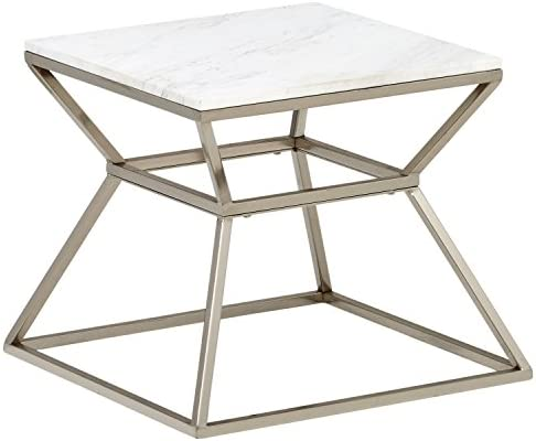 Amazon Brand Rivet Modern Hourglass White Marble Top and Metal Side End Table Nightstand, 17.9 W, Silver Finish