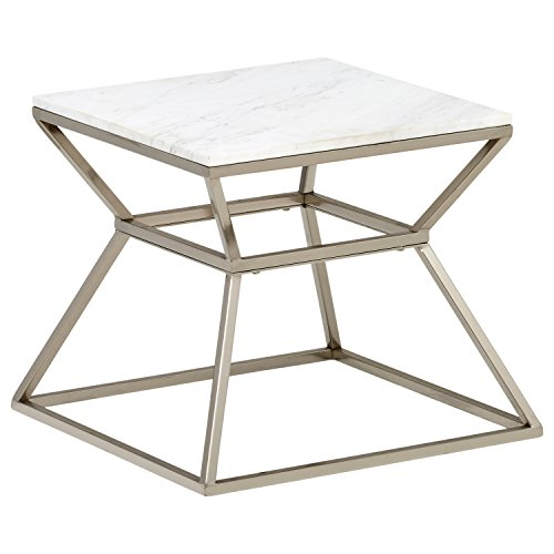 - Rivet Modern Hourglass White Marble Top and Metal Side End Table Nightstand, 17.9