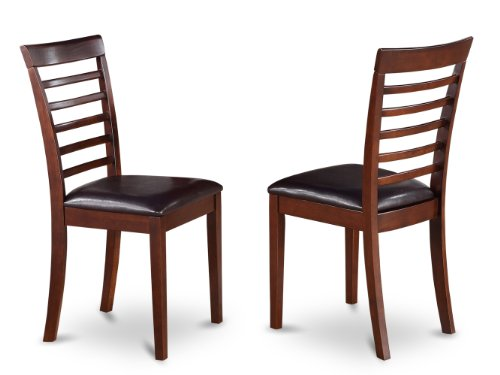 East West Furniture MLC-MAH-LC Kitchen Chair Set with Faux Leather Seat, Mahogany Finish, Set of -
