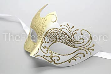 Amazon.com : Elegant White and Gold Princess Venetian Masquerade Mask with  Sparkling Glitters : Beauty Products : Beauty