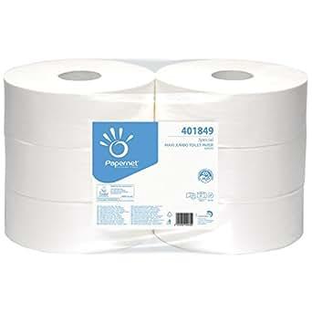 Papernet 401849 Maxi Jumbo Papel Higiénico, Celulosa Pura, 2 Capas, 6 Rollos, Blanco