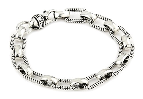 Twisted Blade 925 Sterling Silver Rectangular Rope Link Bracelet 7'' by Buy For Less