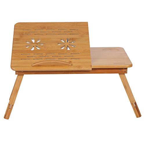 Adjustable Portable Serving Tray Tilting Top Drawer with Flower Stripes ()