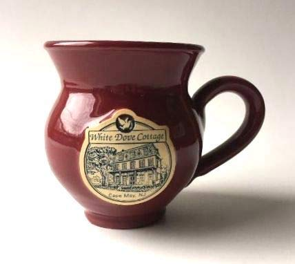 Cape May Cottage - White Dove Cottage (Cape May, New Jersey) Ceramic/Pottery Coffee Mug - Burgundy Red