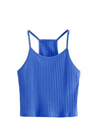 SheIn Women's Summer Basic Sexy Strappy Sleeveless Racerback Crop Top X-Large Blue ()