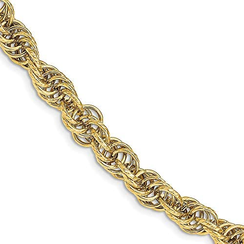 Leslies 14K Polished Textured Fancy Link Bracelet 14k Yellow Gold Length 775 inch