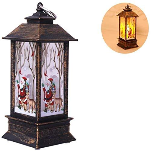 Hffan Décoration de Noël avec Petite Lampe à Huile LED avec Simulation Portable Flambos avec élan dans Fond Bleu, décoration de Noël pour Mariage, fête