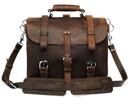 SAIERLONG MrBP Men's messenger backpacks shoulder handbags deep brown Genuine Leather by SAIERLONG MrBP
