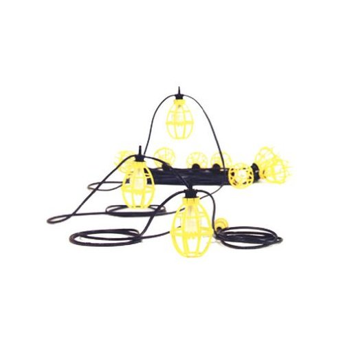 Woodhead  302SRL  Pro-Yellow Stringlight, Commercial and General Duty, Incandescent Bulb, 150W Lamp Wattage, Assembled Socket Construction, STR101 Guard, 12/2 TC Cord Type, NEMA 1-15 Configuration by Woodhead
