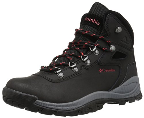 Columbia Women's Newton Ridge Plus Hiking Boot, Black/Poppy Red, 7.5 Regular US