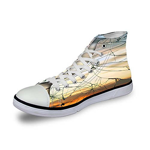 Canvas Yellow Women Loafers and Top Men U DESIGNS Sneakers Lace Flat Comfort 2 High Shoes Awesome FOR for Up C06Px