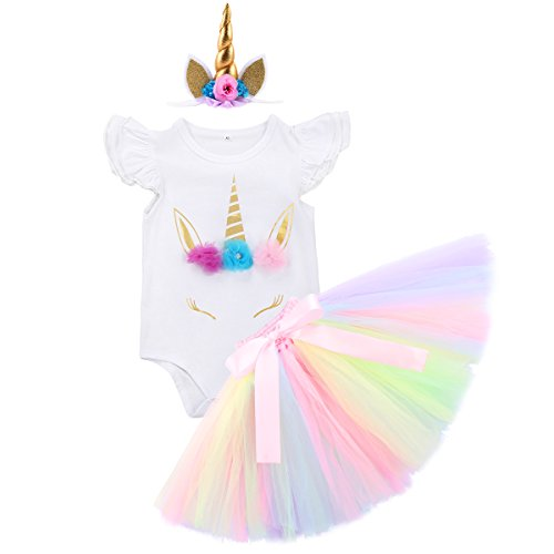 3PCS Unicorn Party Fall Outfit Newborn Baby Girls 1st Birthday Costume Romper + Tutu Skirt Dress + Headband Clothing Set 3pcs Flower Unicorn Outfits 12-18 Months]()