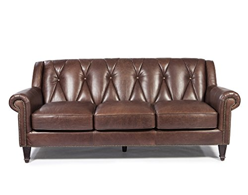 Lazzaro Leather WH-1601-30-9204 Lucia Collection Leather Sofa, French Beige