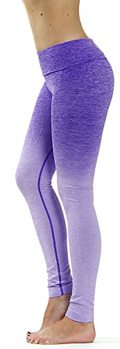 Prolific Health Fitness Power Flex Yoga Pants Leggings XS - XL (Large, Ombre Purple)