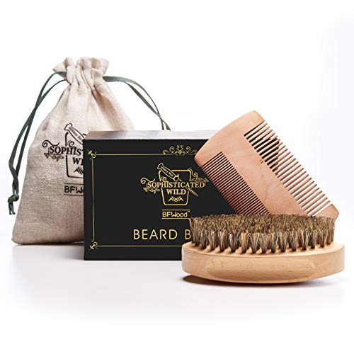 (BFWood Beard Brush with Boar Bristle and Comb Set - Military Style Perfect Gift Set)