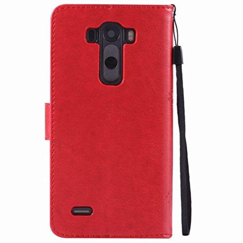 Portefeuille D851 Pochette Ougger Pu Unique Protecteur Lg Magnétique D850 Fente Flip Pour G3 red Housse Printing Avec d855 D852 Caoutchouc Silicone Carte Etui Coque Cover Cuir xCYwqCHP