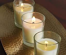 HOSLEY\'S Set of 48 Unscented Glass Filled Votive Candles - 12 Hour Burn Time
